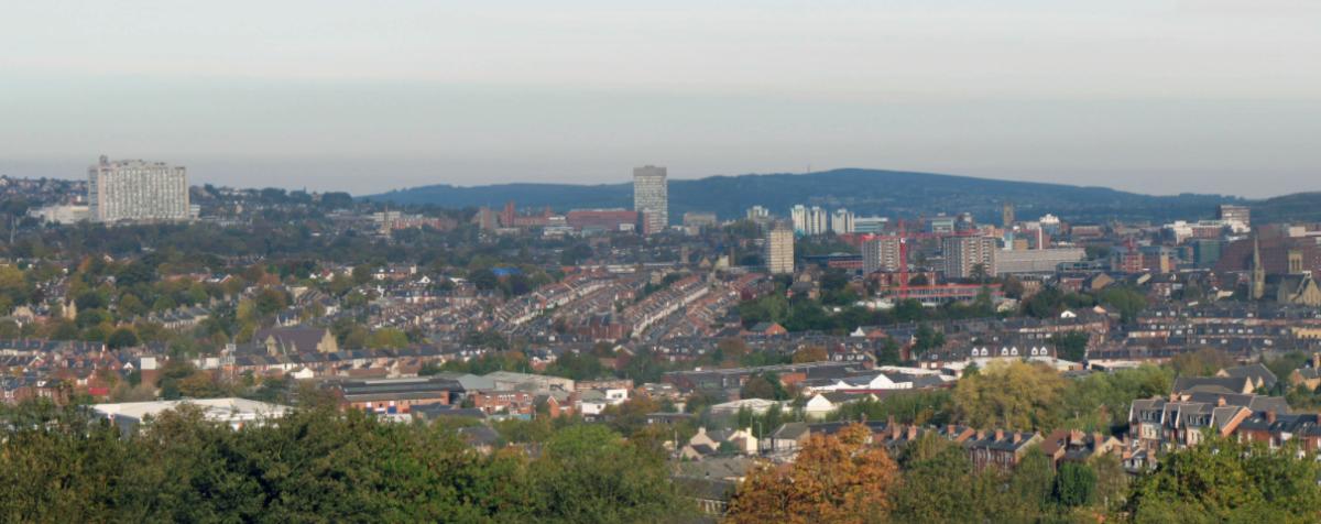 Sheffield city skyline looking West from Meersbrook Park